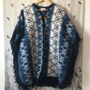 1970's Fringed Poncho with Wooden Buttons